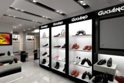 Một showroom giày dép thời trang với diện tích và mặt tiền nhỏ, điều quan trọng nhất là làm cho toàn bộ showroom đồng bộ về màu sắc và phong cách